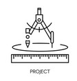 construction project architect drawing compass vector image vector image