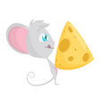 cute grey mouse with a big slice cheese vector image vector image