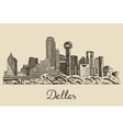 Dallas skyline hand drawn vector image vector image