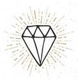 diamond vintage label hand drawn sketch grunge vector image vector image