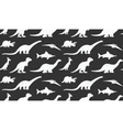 Dinosaurs white silhouettes on black background vector image vector image