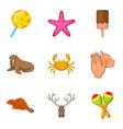 domesticate fauna icons set cartoon style vector image vector image