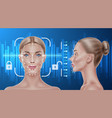 face recognition biometric scanning girl vector image