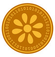 flower digital coin vector image vector image