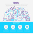 football concept in half circle vector image vector image