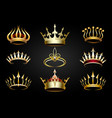 golden crown set vector image vector image