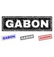 grunge gabon scratched rectangle stamp seals vector image vector image