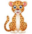 happy leopard cartoon sitting vector image vector image