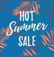 hot summer sale poster palm leaf pattern vector image