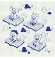 kids flying on books cartoon vector image vector image