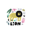 lion hand drawn vector image vector image