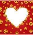 love heart eye smiley face white frame template vector image