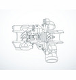 outline sectioned turbocharger vector image vector image