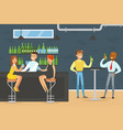 people sitting in bar drinking and chatting vector image vector image