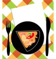 pizza on plate vector image vector image