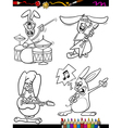rabbits musicians set cartoon coloring book vector image vector image