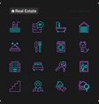 real estate thin line icons set vector image