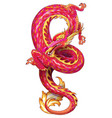 red serpentine dragon vector image vector image