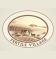 rural landscape in frame in monochrome color vector image vector image