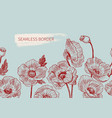seamless border poppy flowers drawn and sketch vector image vector image