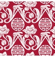 Seamless pattern of Chinese symbols and flowers vector image