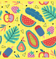 seamless pattern with fruit and plants vector image vector image