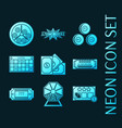 set lottery blue glowing neon icons vector image