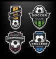 set soccer football logo emblem vector image