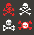 skull crossbones icon warning danger pirate vector image