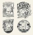 surfing vintage badges set vector image