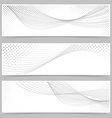 Swoosh line halftone web header collection vector image vector image