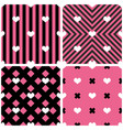 tile pattern hearts on pink and black background vector image