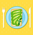 toast with avocado slices and cheese spread vector image