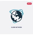 two color globe network icon from web hosting vector image vector image