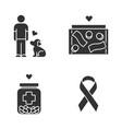 volunteering glyph icons set humanitarian vector image vector image