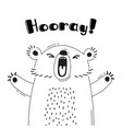 with joyful bear who shouts - hooray vector image vector image