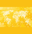 world map made of small dots on a yellow vector image vector image