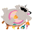 Young hippo on the beach vector image