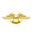 Eagle and badge symbol for logo and emblem design vector image