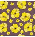 seamless pattern with yellow poppy flowers on dark vector image