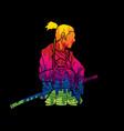 2 samurai composition vector image vector image
