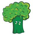 a cure smiling green broccoli on white background vector image vector image