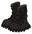 black leather high lacing military shoes vector image