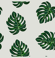 blue tropical leaves monstera pattern vector image vector image