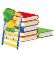 boy climbing up the stack of books vector image