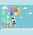 businessman holding balloons up in sky vector image vector image