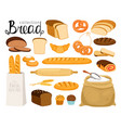 cartoon bread collection vector image vector image