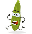 cartoon happy zucchini character vector image vector image