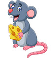 cartoon mouse holding slice of cheese vector image