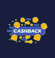 cashback money refund with glitch effect vector image vector image